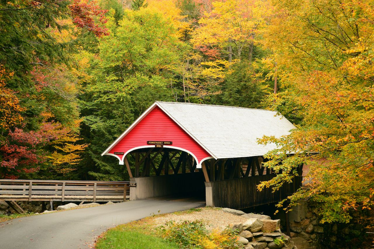 The red and white Flume covered bridge in New Hampshire