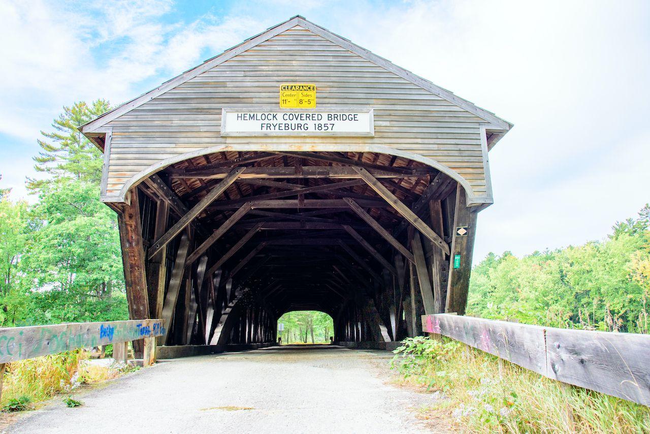 Hemlock bridge is a historic New England covered bridge between Maine and New Hampshire
