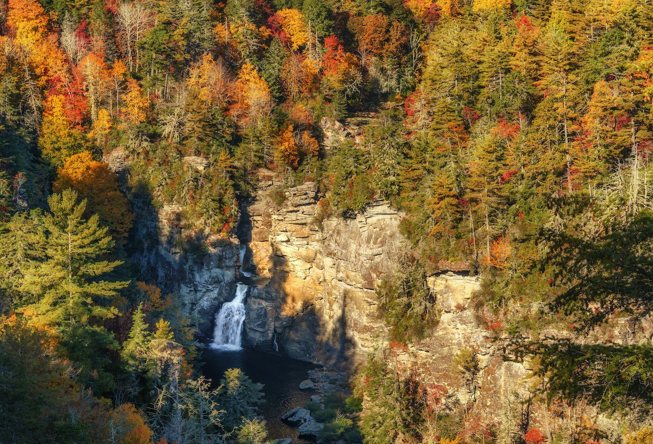 North Carolina's Linville Falls surrounded by fall foliage