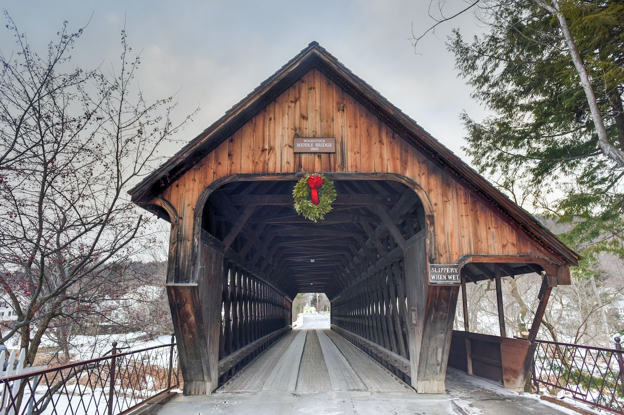 The historic wooden Middle Bridge in Vermont