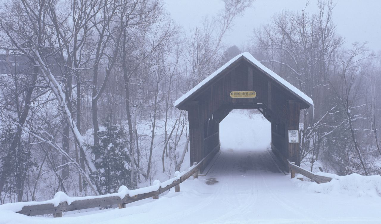 The Swamp Meadow Covered Bridge in Rhode Island is one of the few surviving in the state