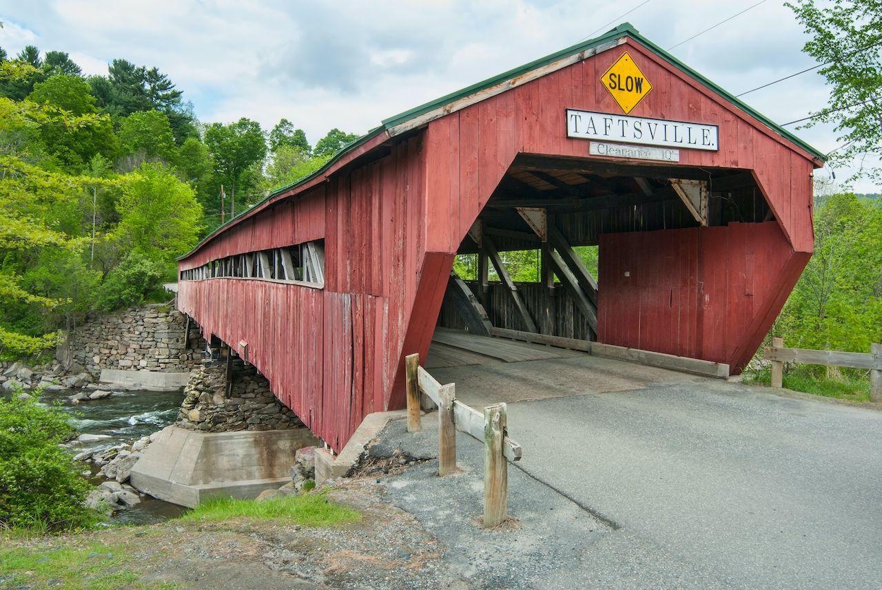 The historic Taftsville covered bridge in Vermont