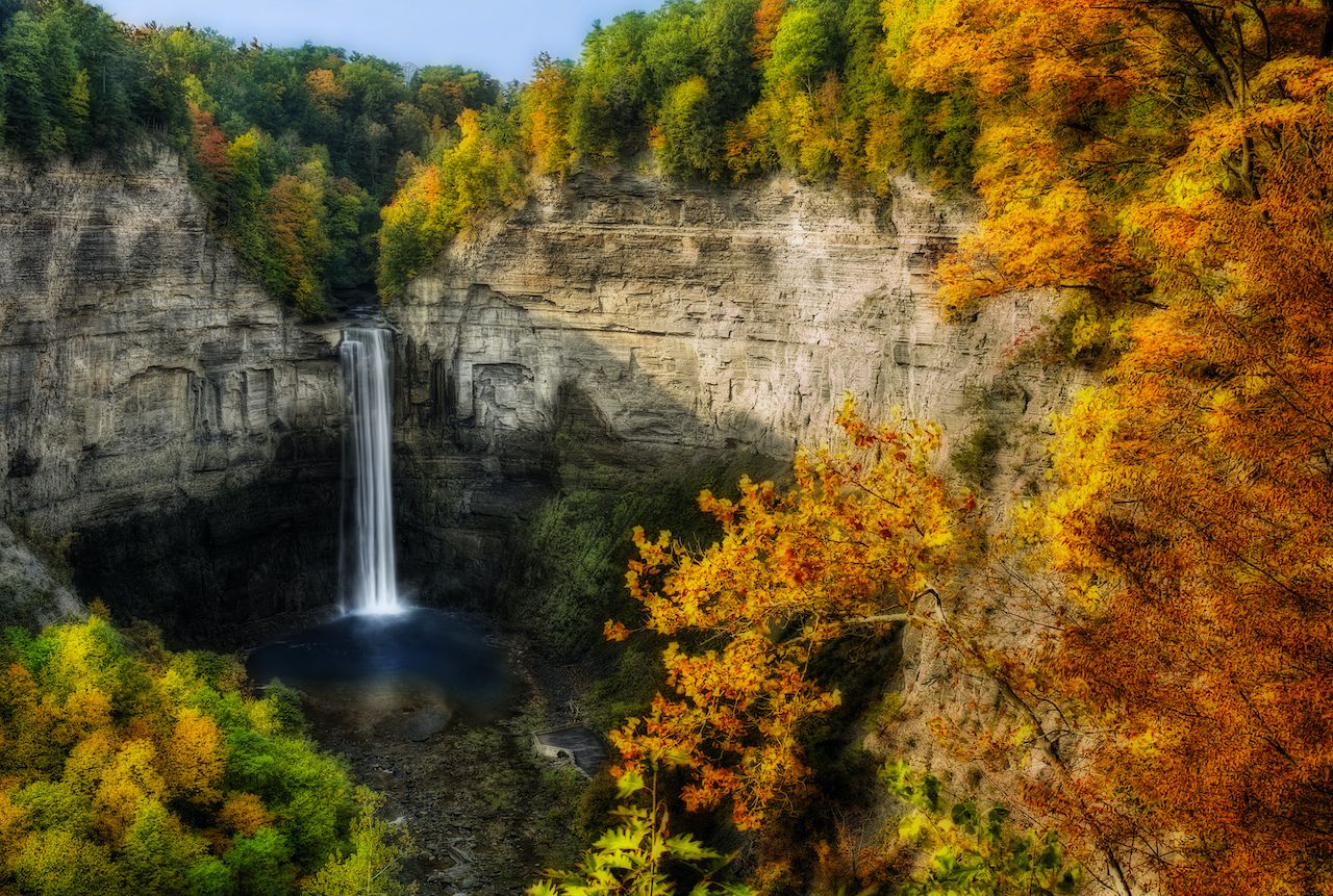 Taughannock Falls in New York is one of the best waterfalls to see in the fall
