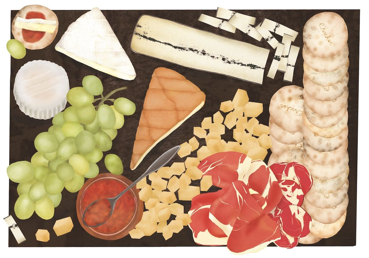 """Cheese platter illustration from """"The New Rules of Cheese"""""""