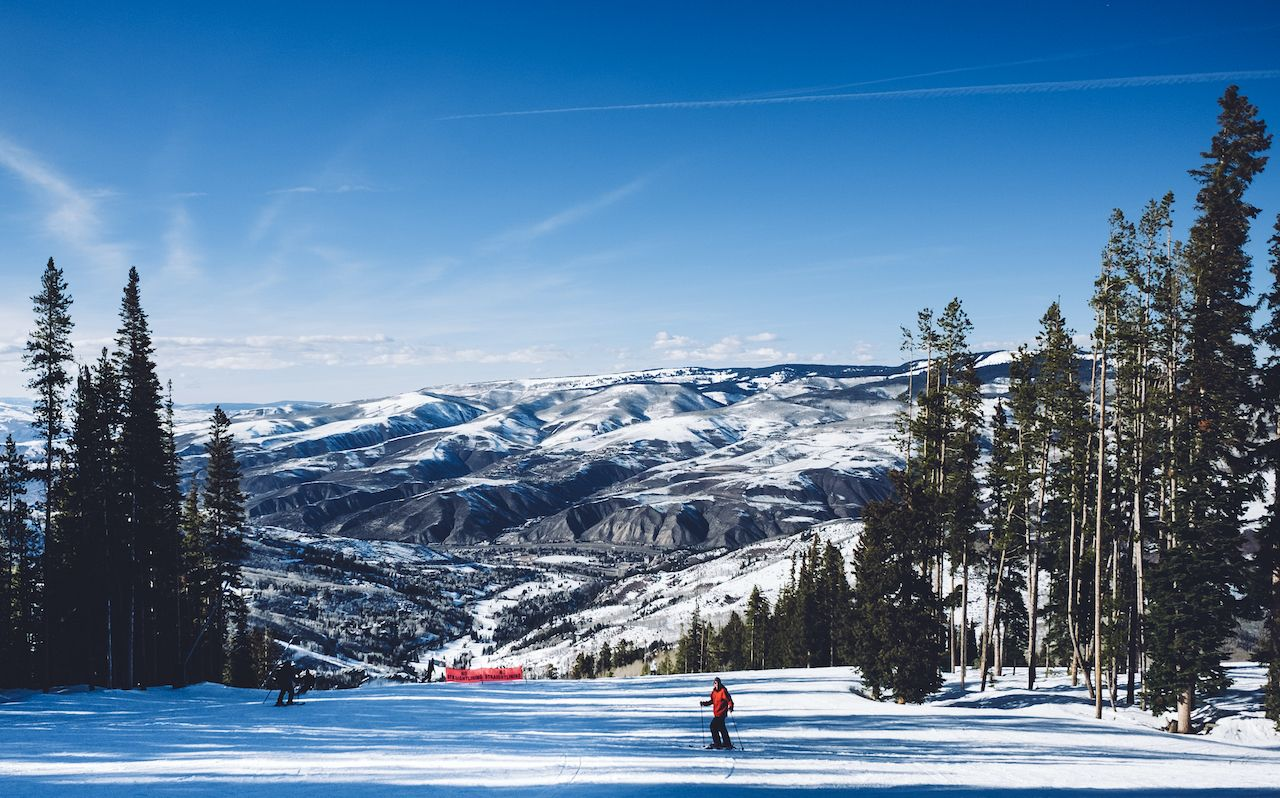 A skier on the slopes at Beaver Creek ski resort