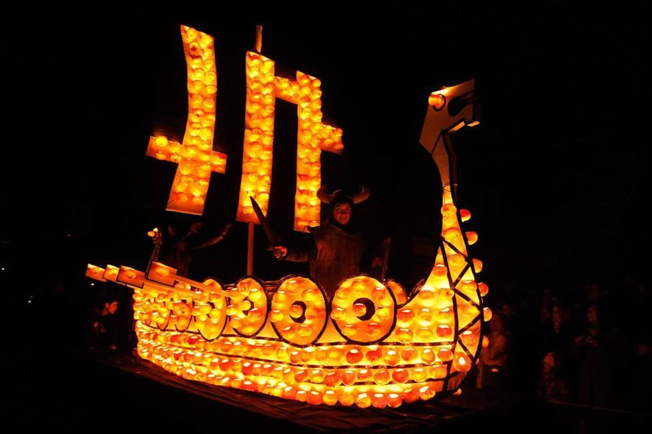 Boat with lights