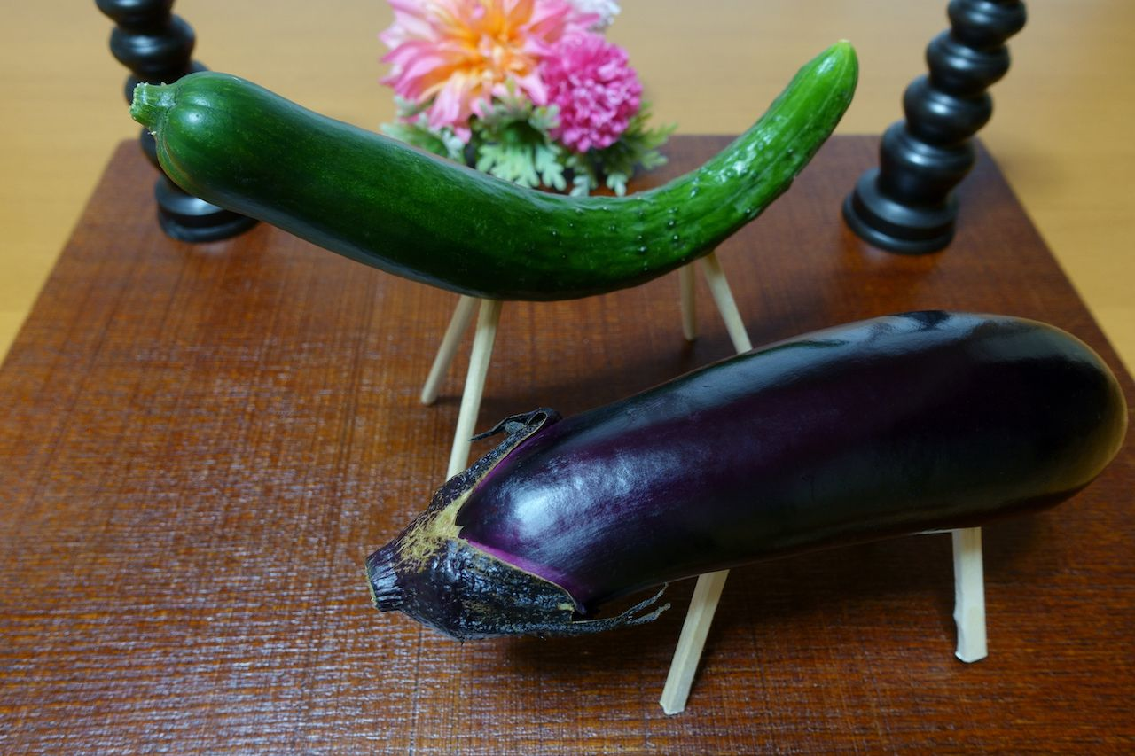 Eggplant and cucumber for Obon festival