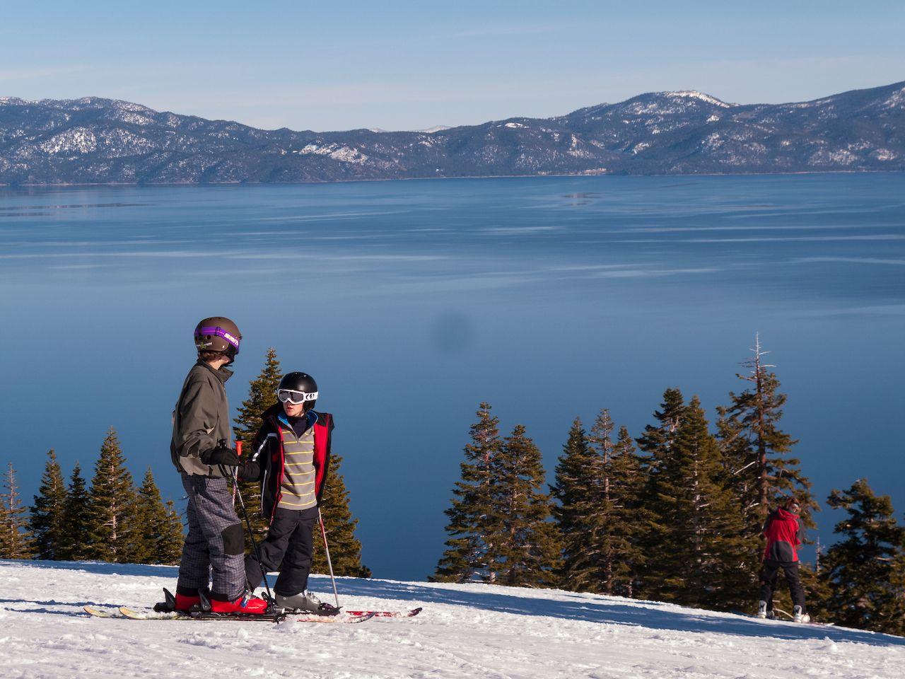 Skiers in Lake Tahoe