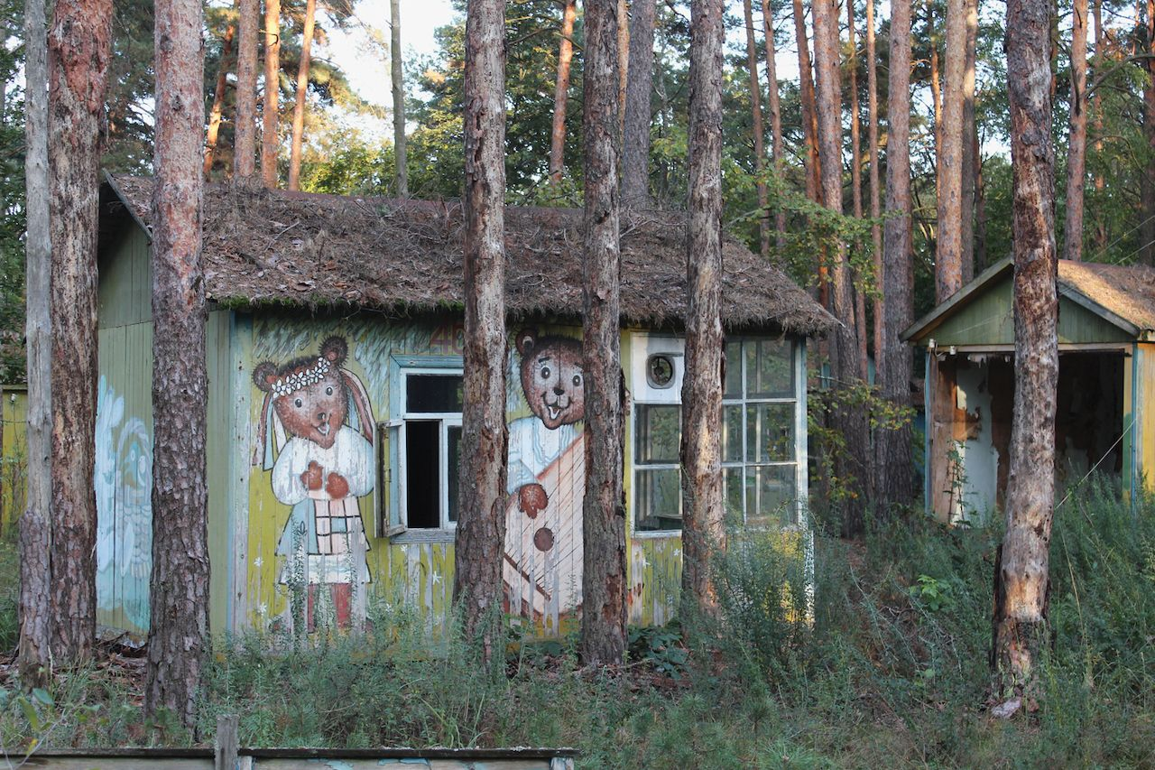 Small cabins in the woods in the Chernobyl exclusion zone