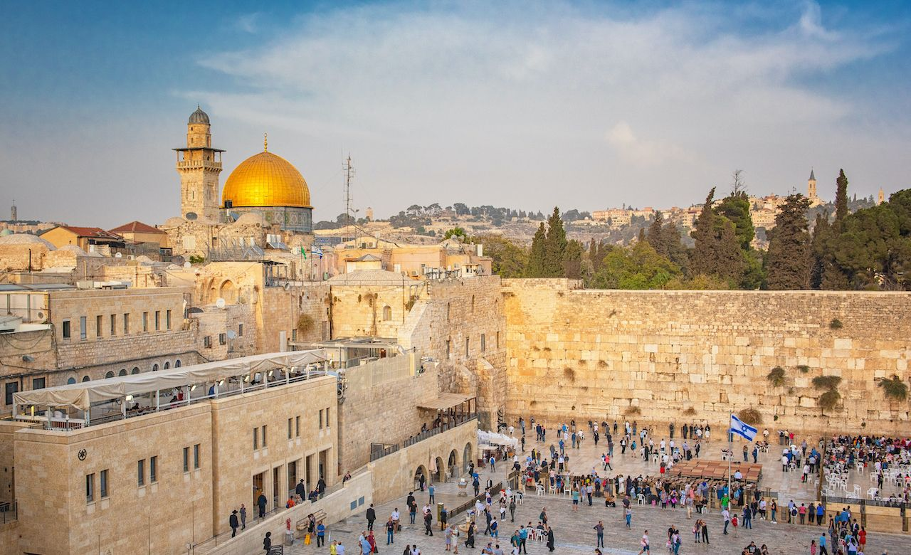 Western Wall and the golden Dome of the Rock