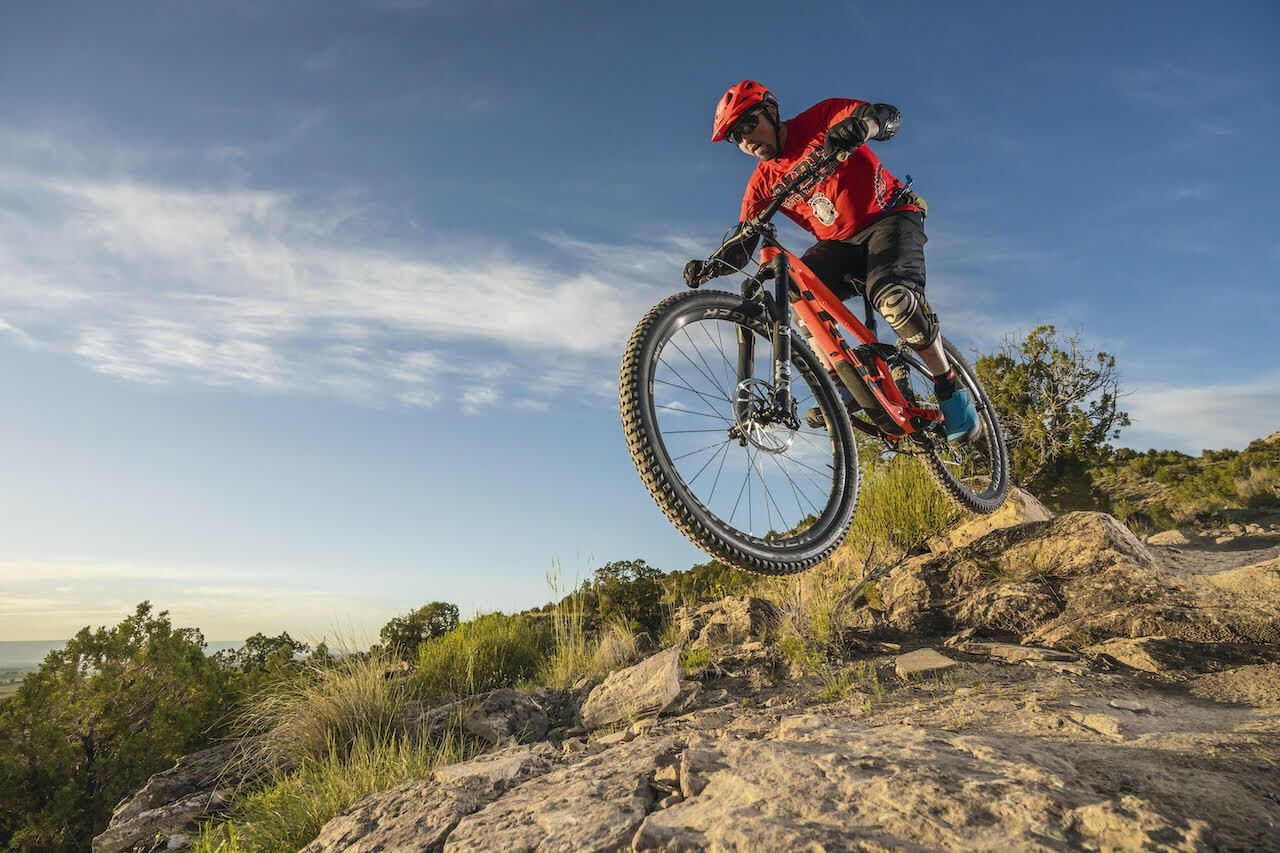 mountain biker in fruita, colorado