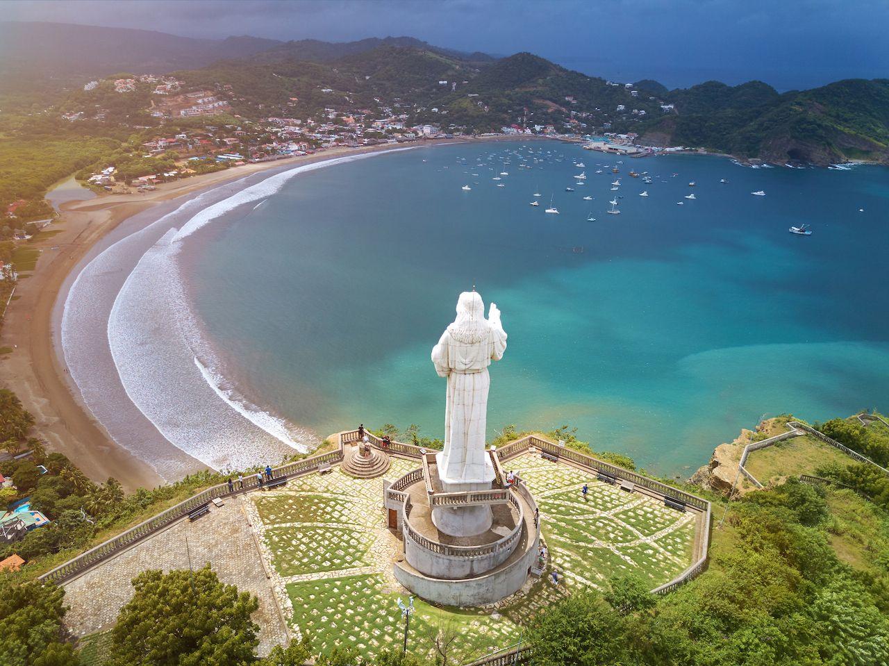 Christ statue and San Juan del Sur beach, Nicaragua