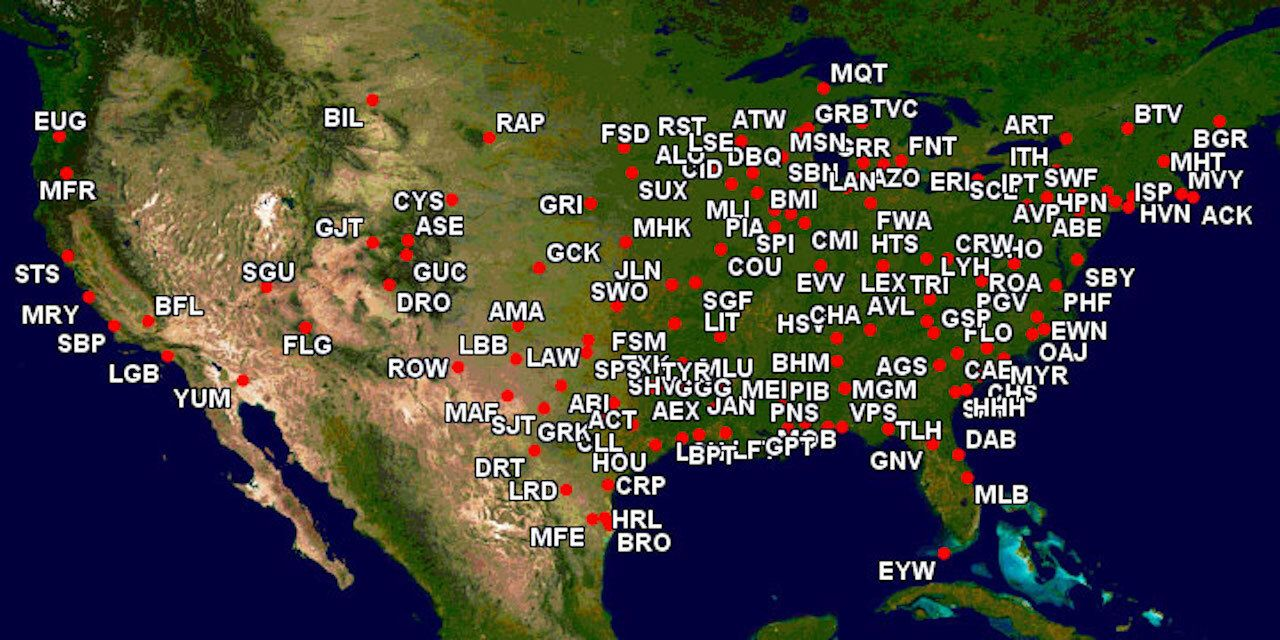 Map of Airports power wheelchair users can not fly