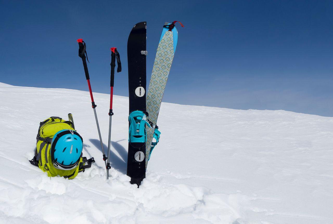 Ski gear in the snow
