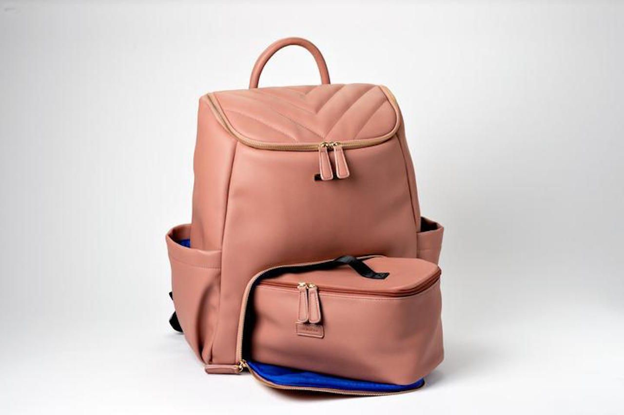 Vegan Leather backpack Minkeeblue