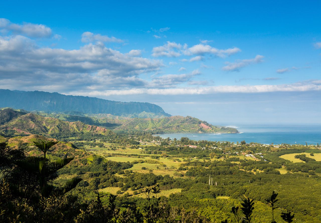 View over Hanalei bay and Na Pali range from Okolehao Trail