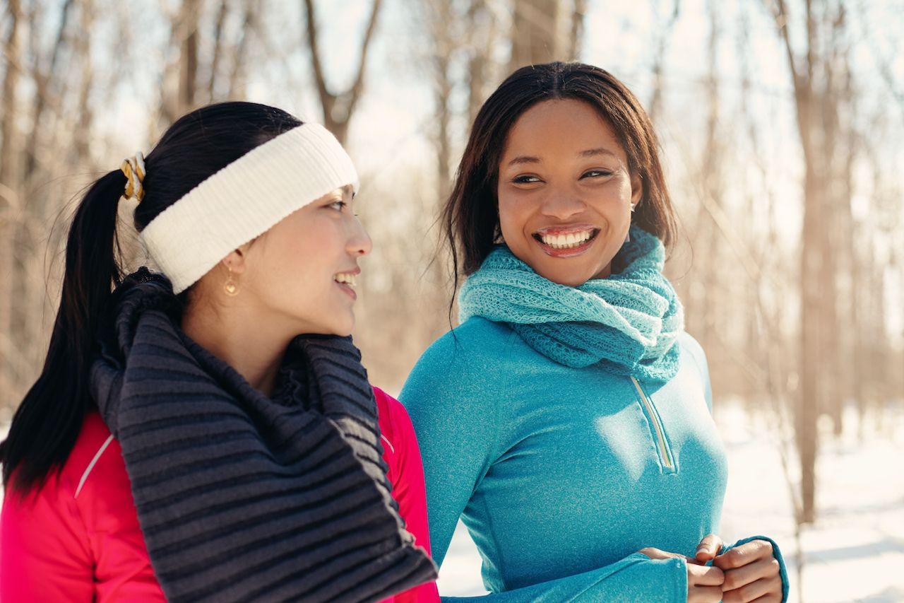 Women walking outside in winter