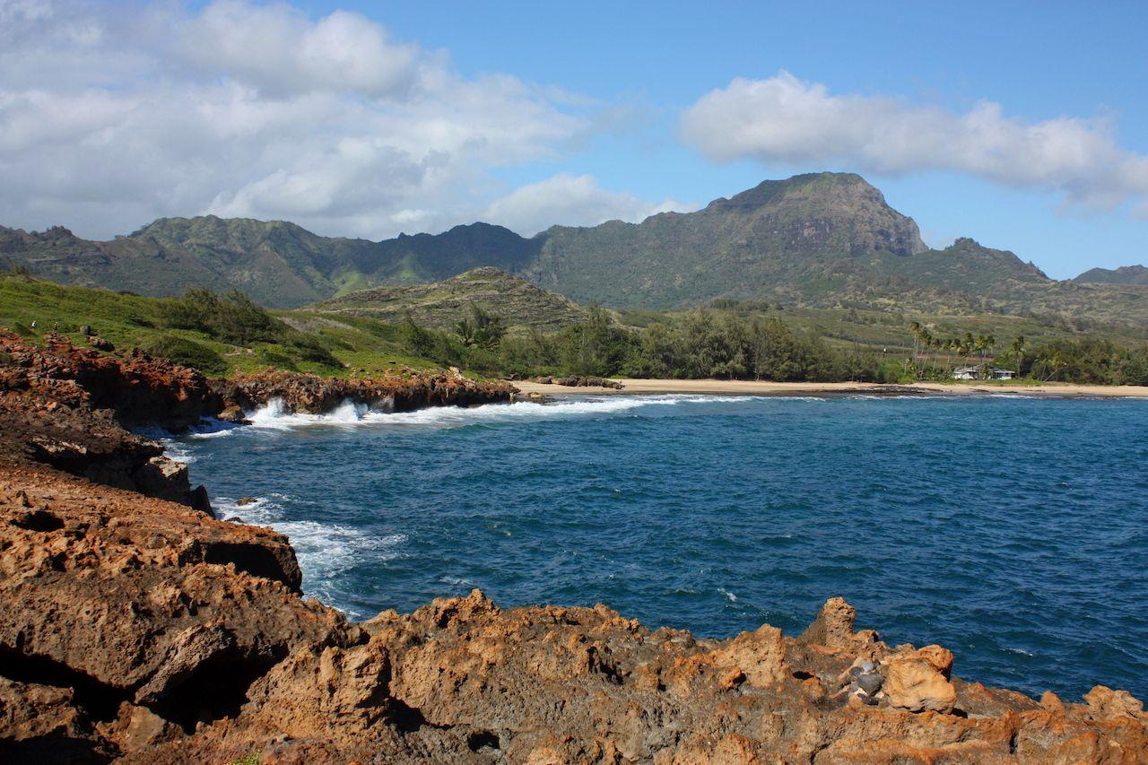 mahaulepu beach along the heritage trail in poipu, kauai