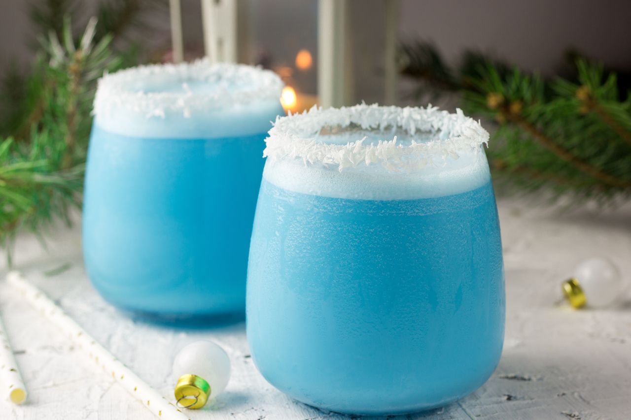 Blue curacao Christmas cocktail