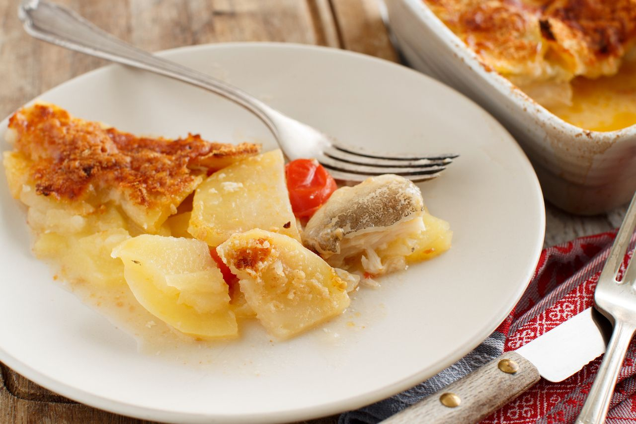 Codfish with potatoes cooked