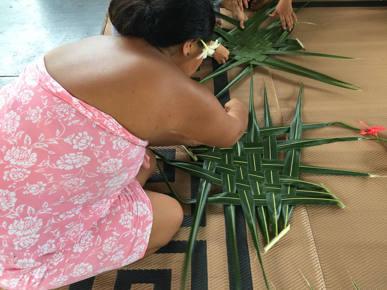 French Polynesia Palm-frond basket weaving