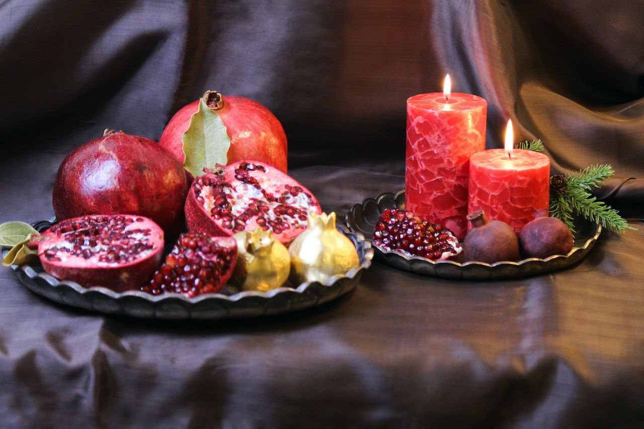 Fruit and candle