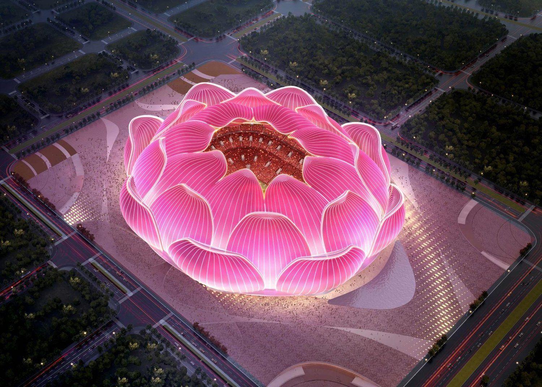 Lotus-shaped soccer stadium, Guangzhou, China