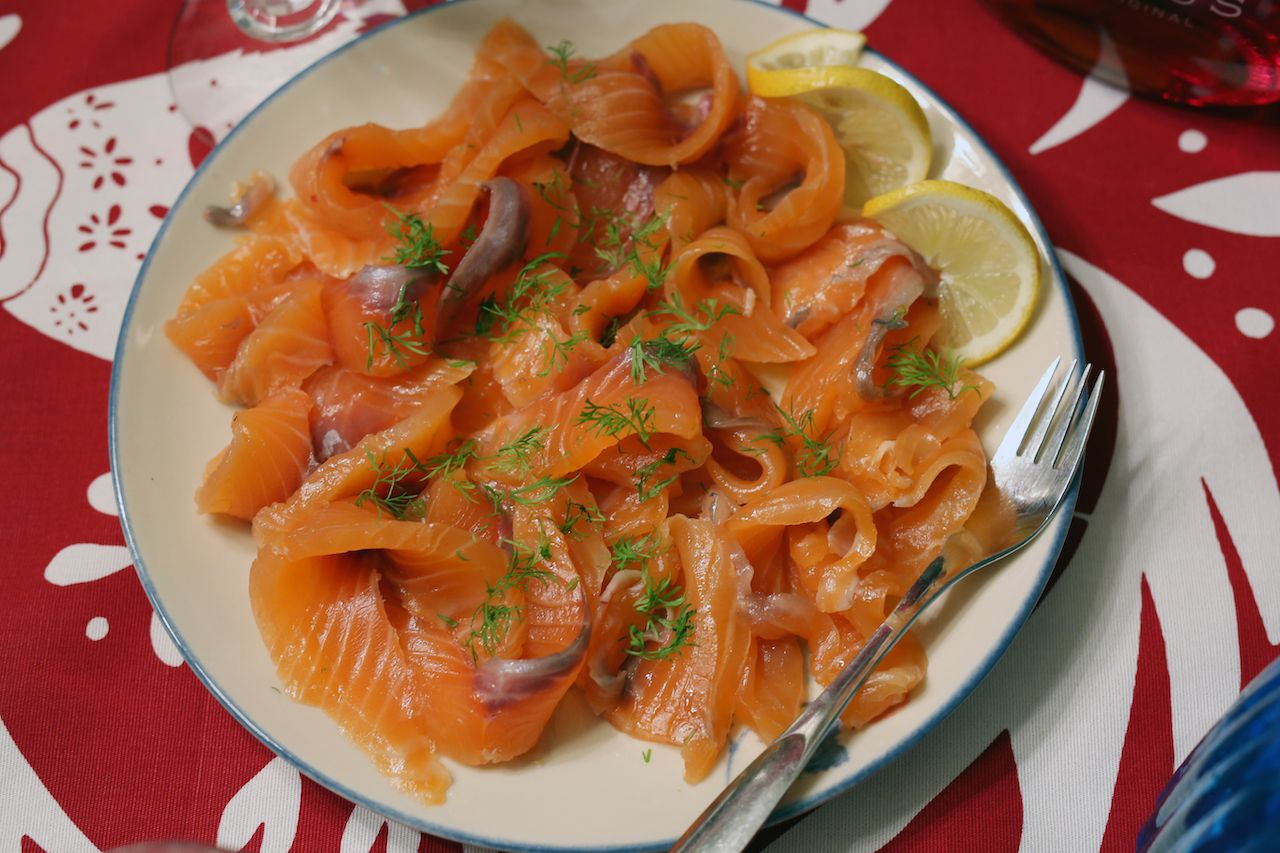 Salted and smoked salmon in Scandinavian style