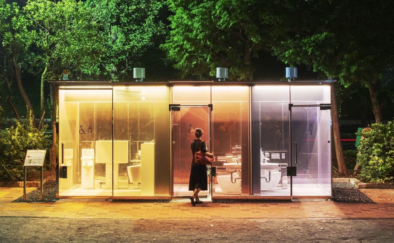 Transparent public bathrooms, Tokyo, Japan