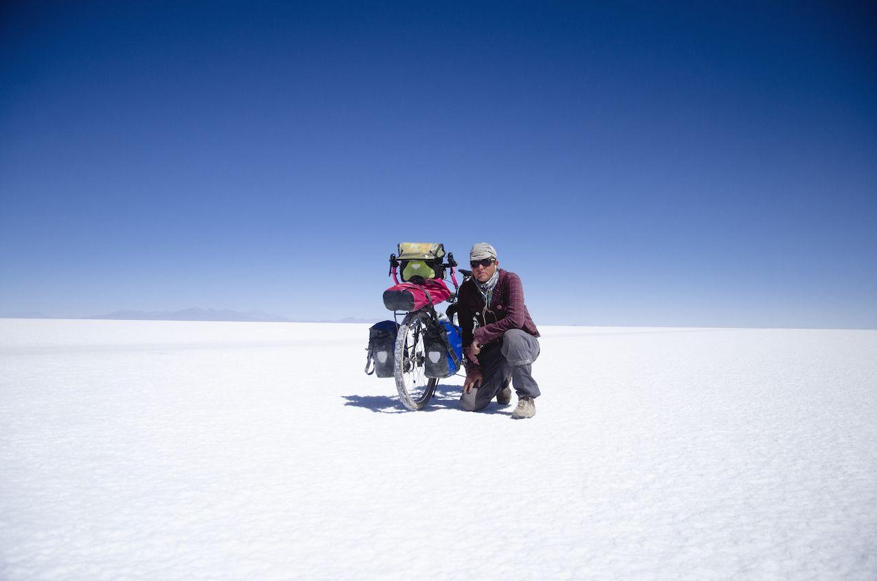 biking on Bolivia salt flat