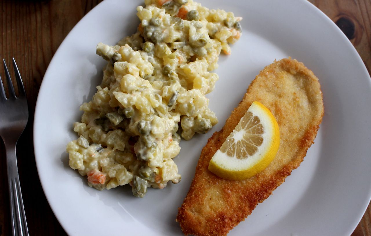 czech breaded fish with potato salad