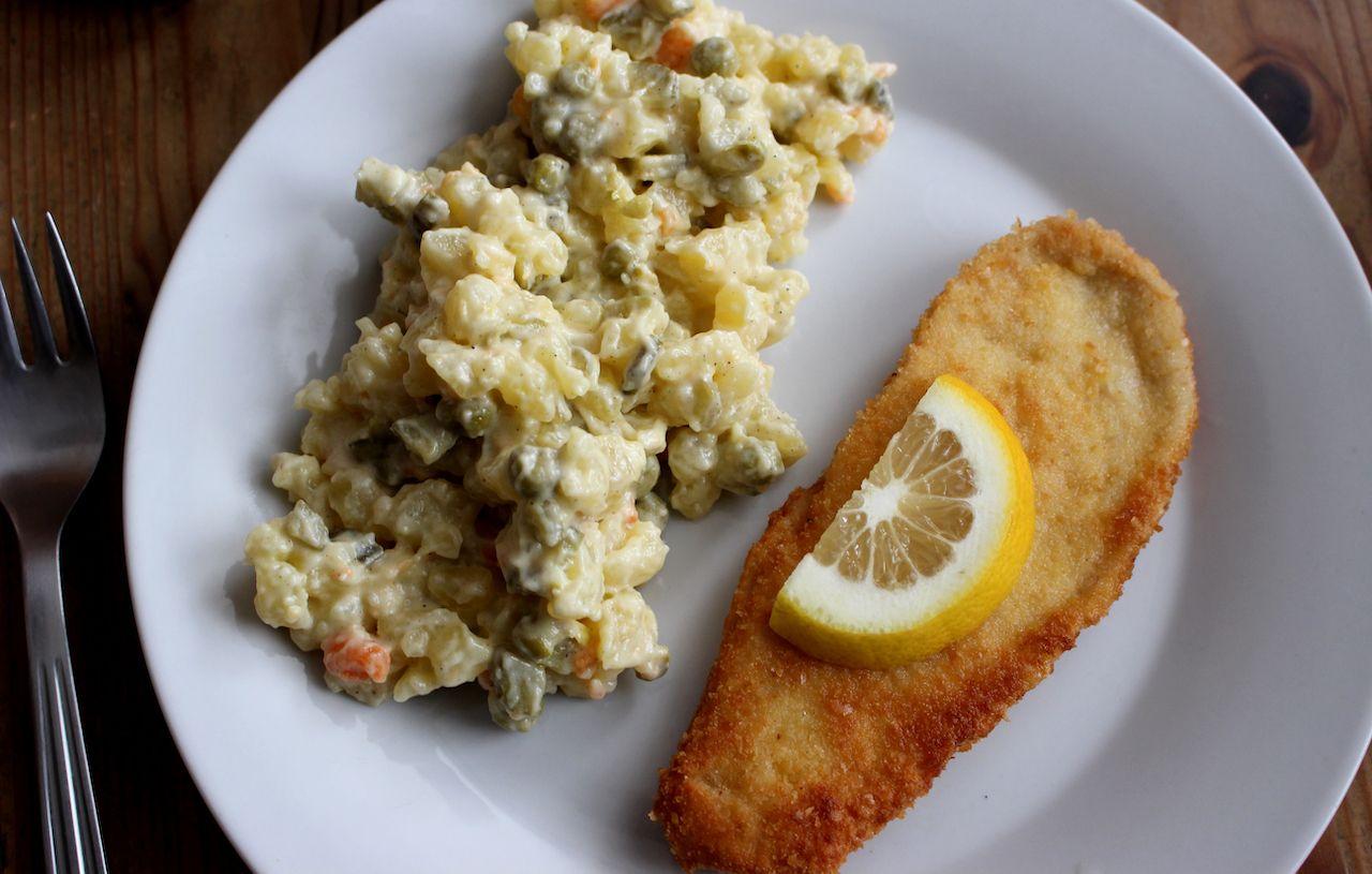 czech breaded fish with potato salad