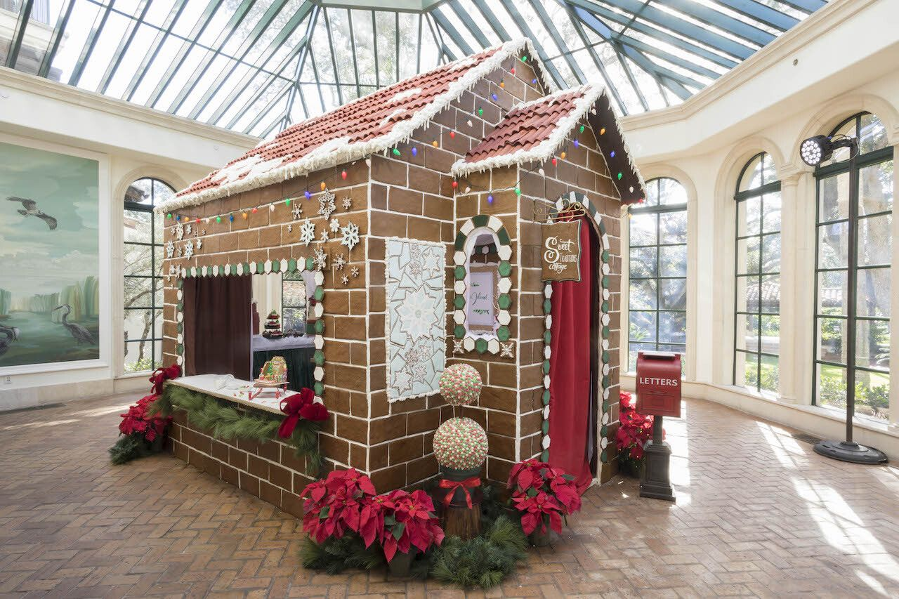 lifesize gingerbread house in georgia resort