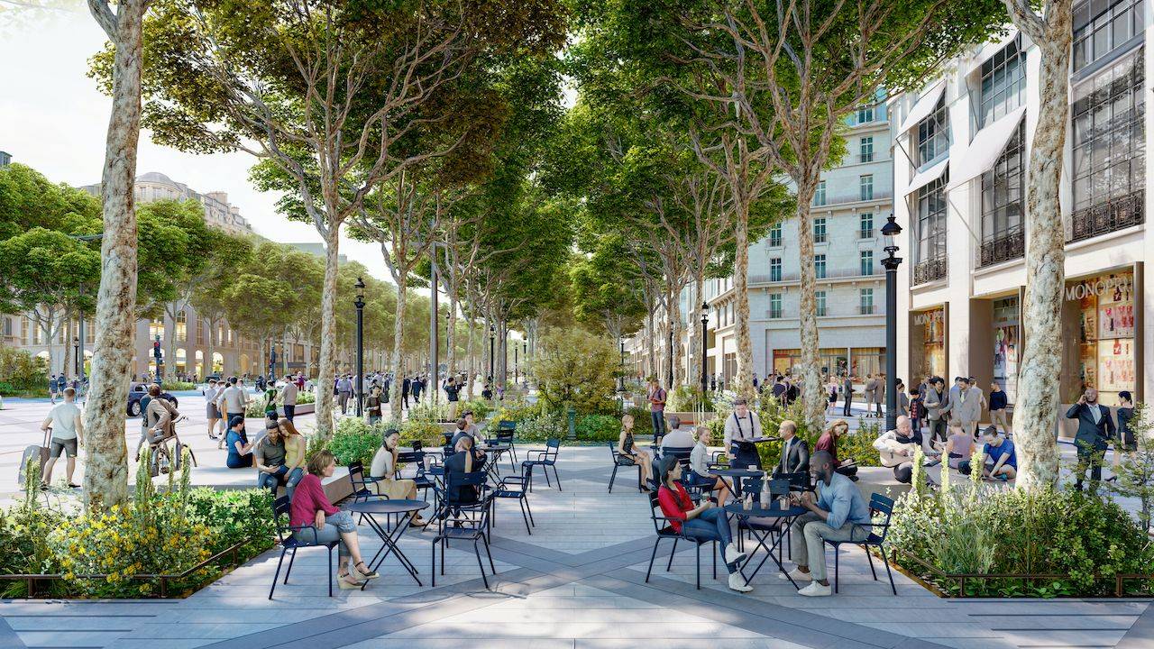 Champs Elysees urban oasis transformation