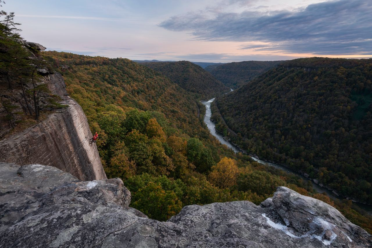 Climbers in New river Gorge