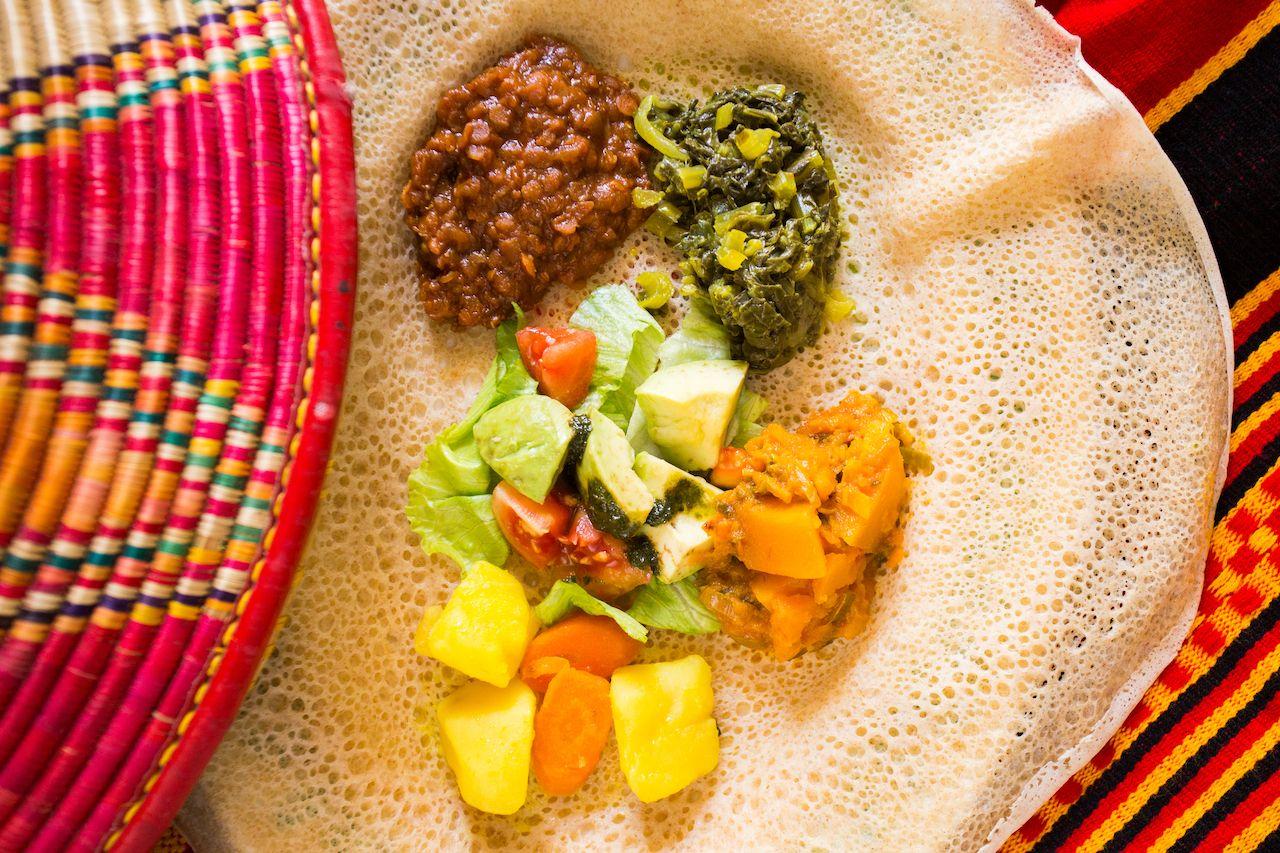 Ethiopian dishes on injera