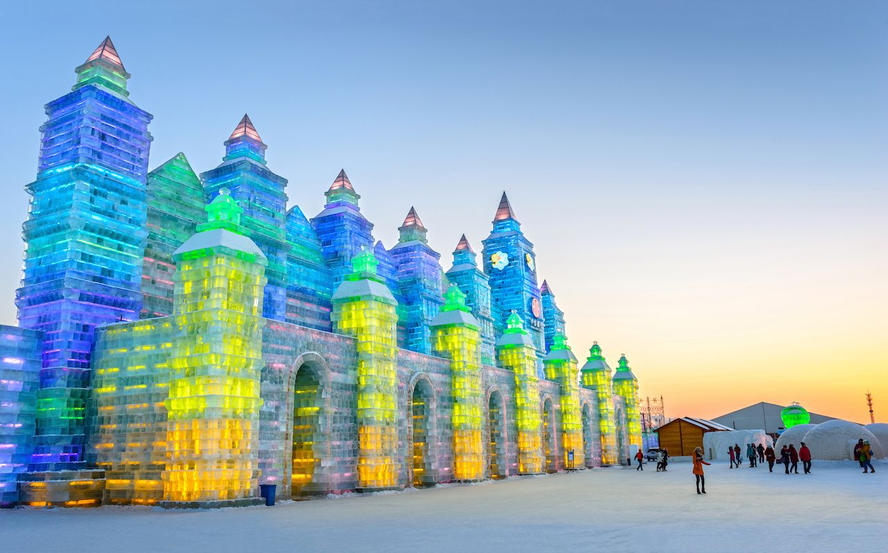 Harbin ice festival sculpture lit up