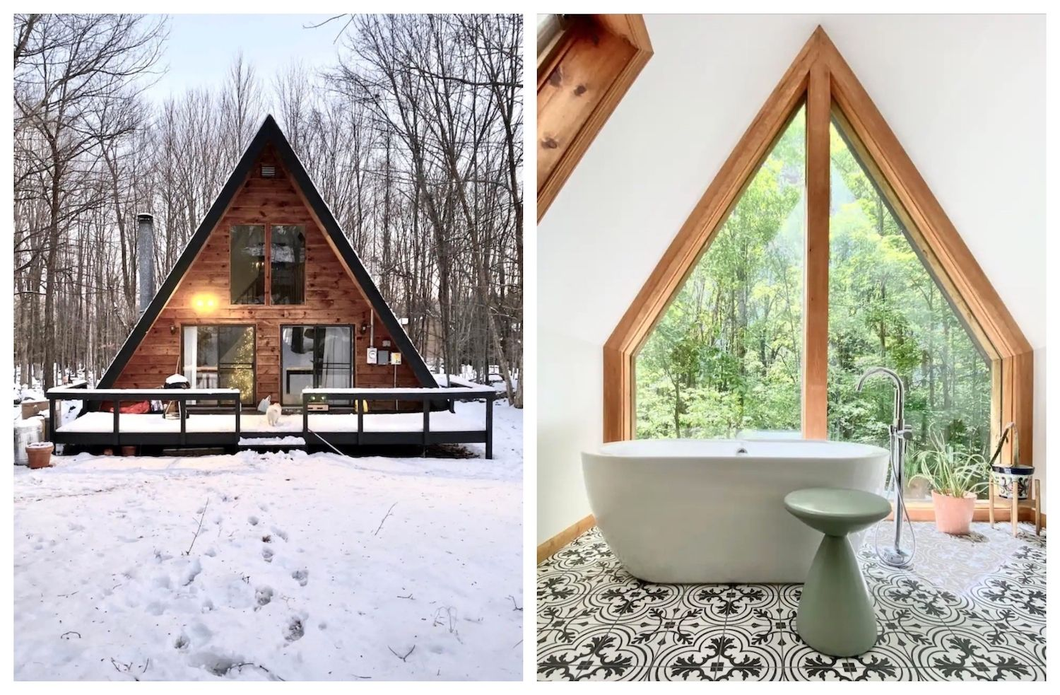 A-frame house on Airbnb