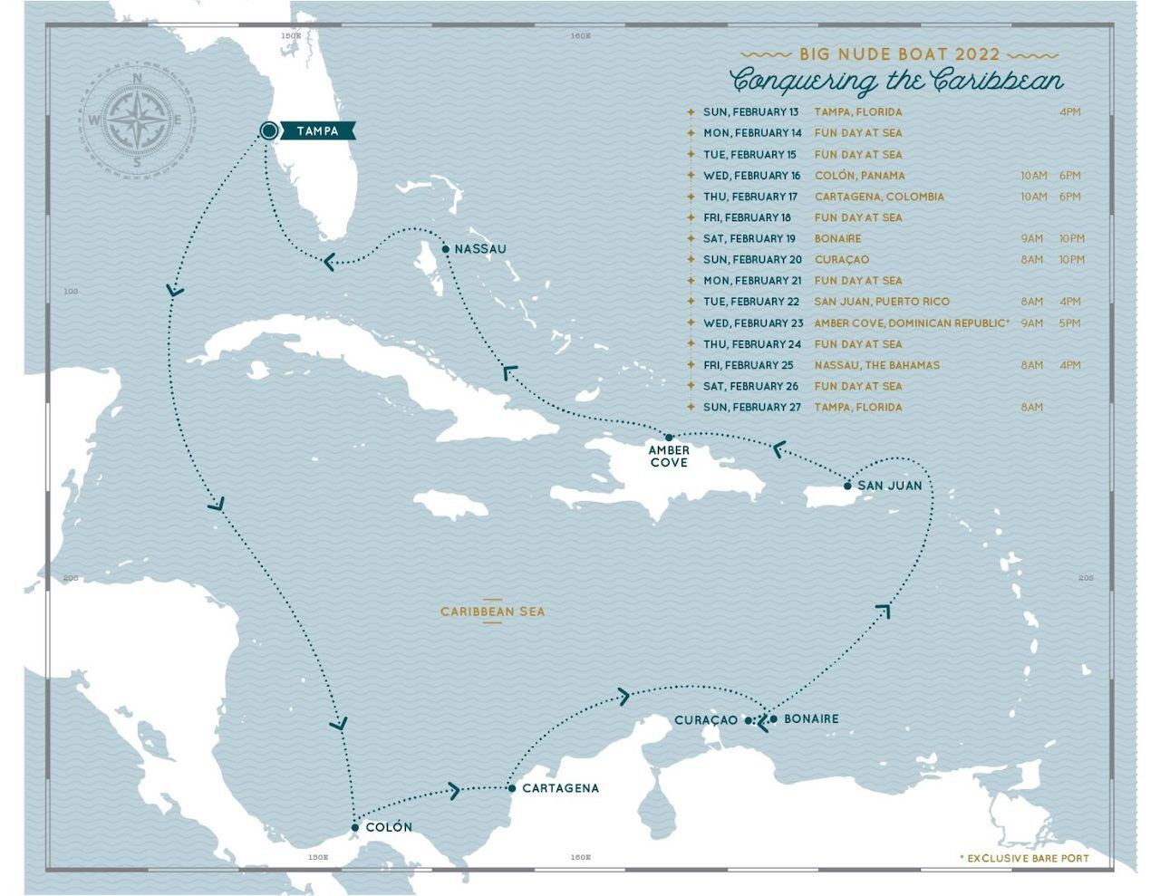 Nude cruise itinerary for Caribbean trip in 2022