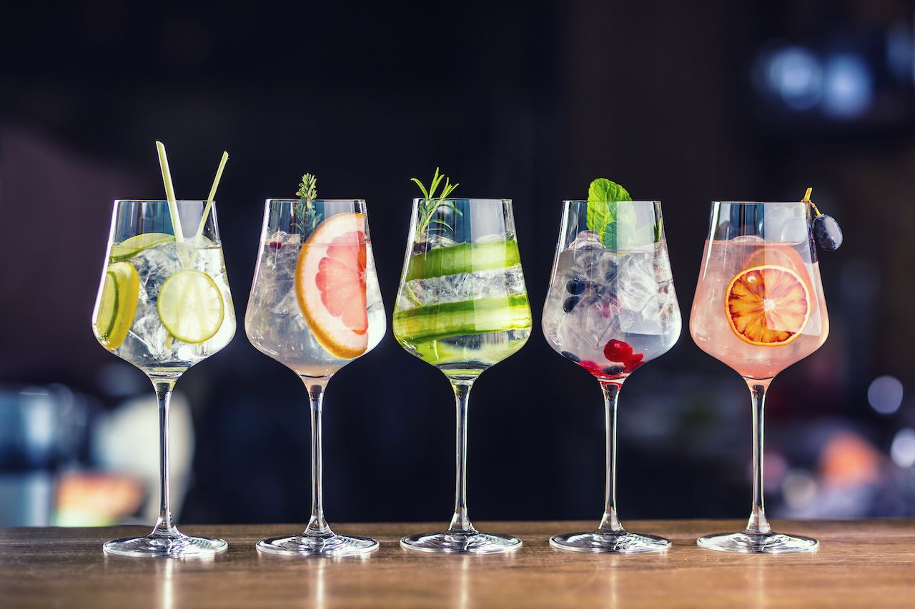 flight of gin cocktails