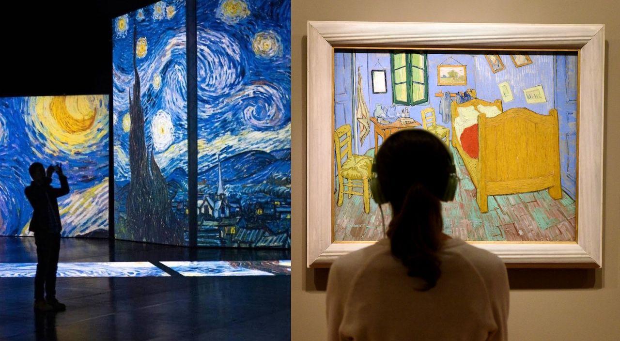 Museum visitors enjoying Van Gogh's art