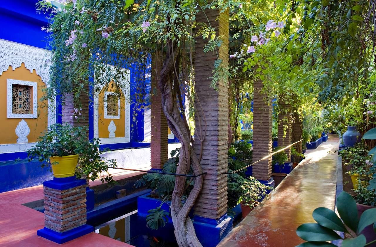 Jardin Majorelle garden, pathway and water feature