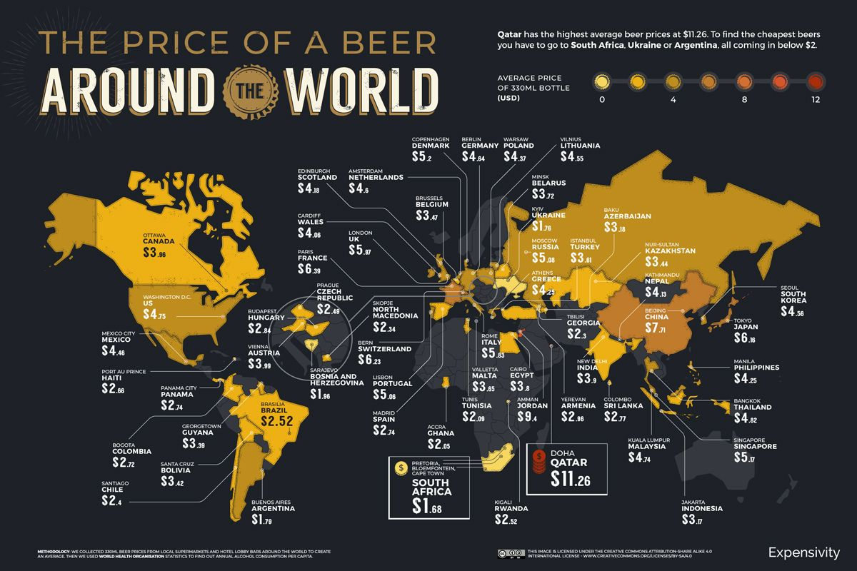 Map of the price of a beer around the world