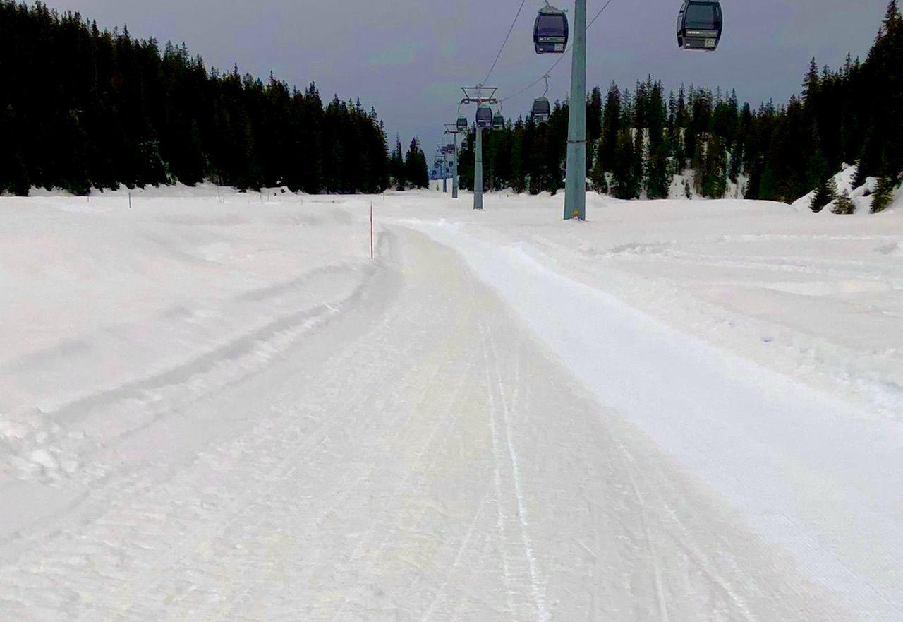 white track through sandy snow