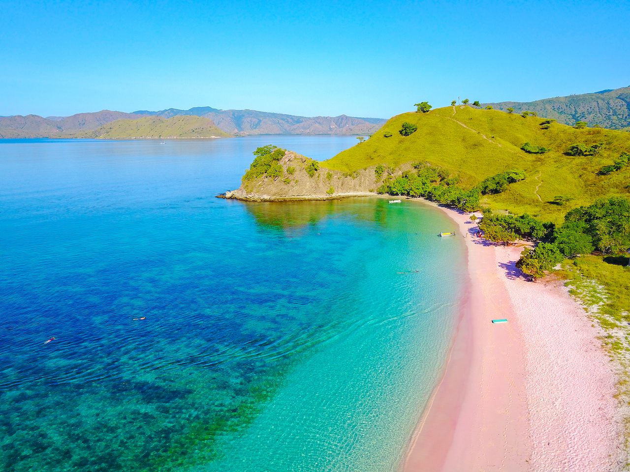 Aerial view of beautiful pink beach at Flores Island