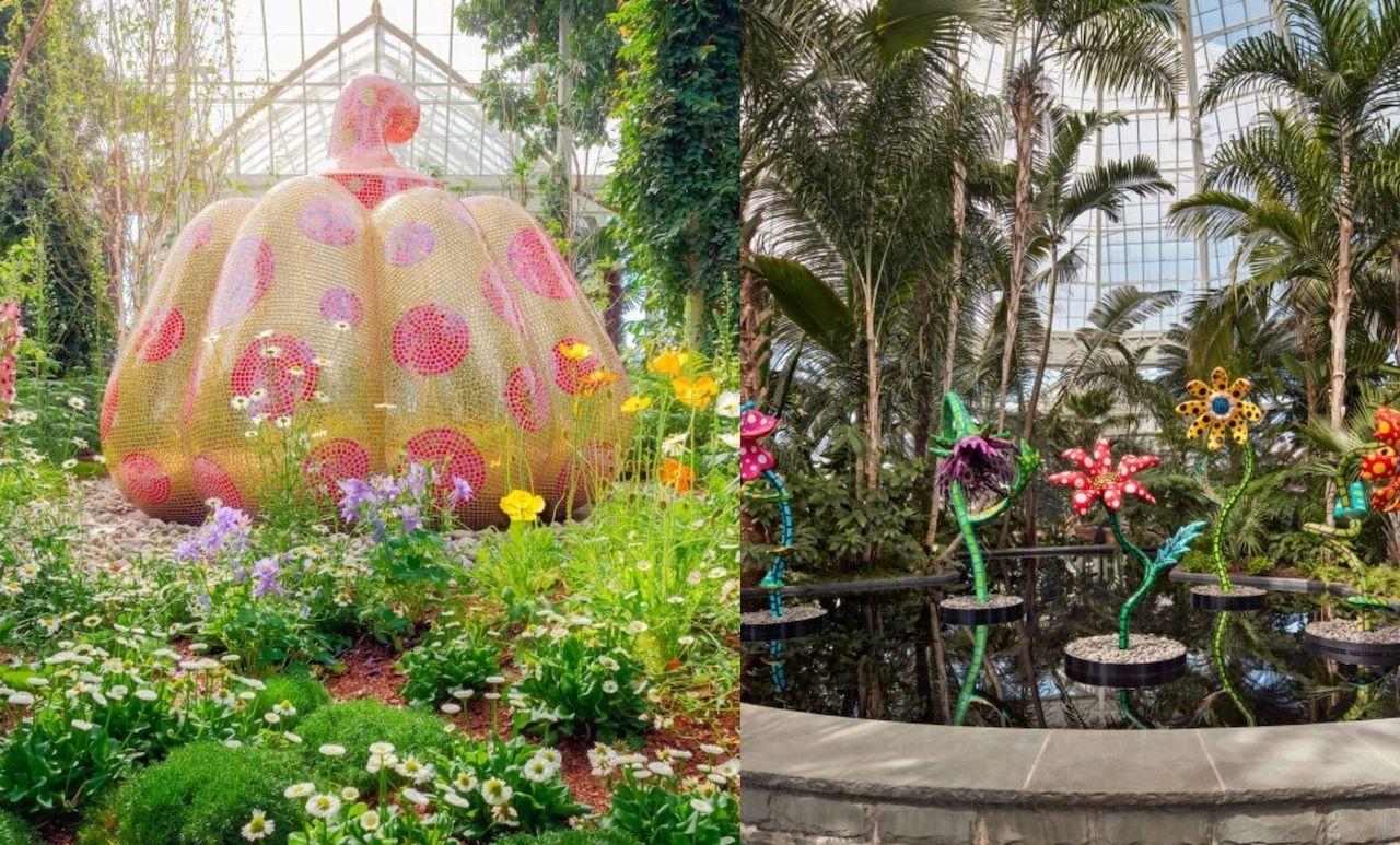 Art pieces by Yayoi Kusama at the NYC Botanical Garden