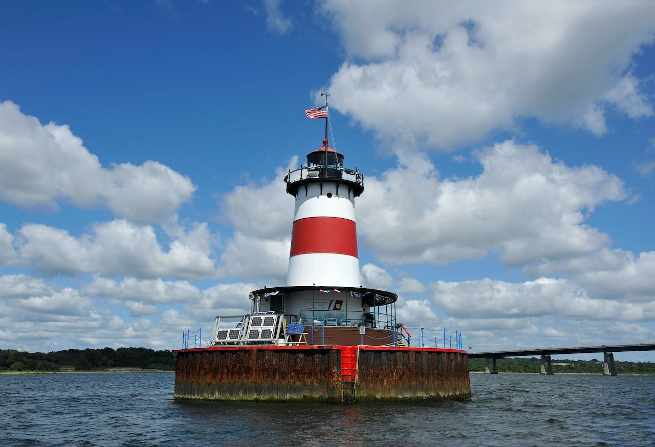 Borden Flats lighthouse in New England to stay the night