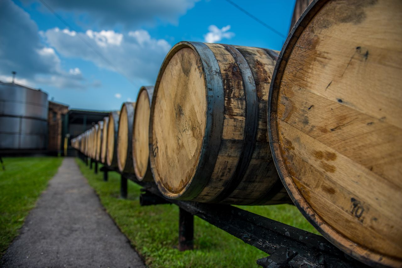 Bourbon barrels at American whiskey distillery in Kentucky