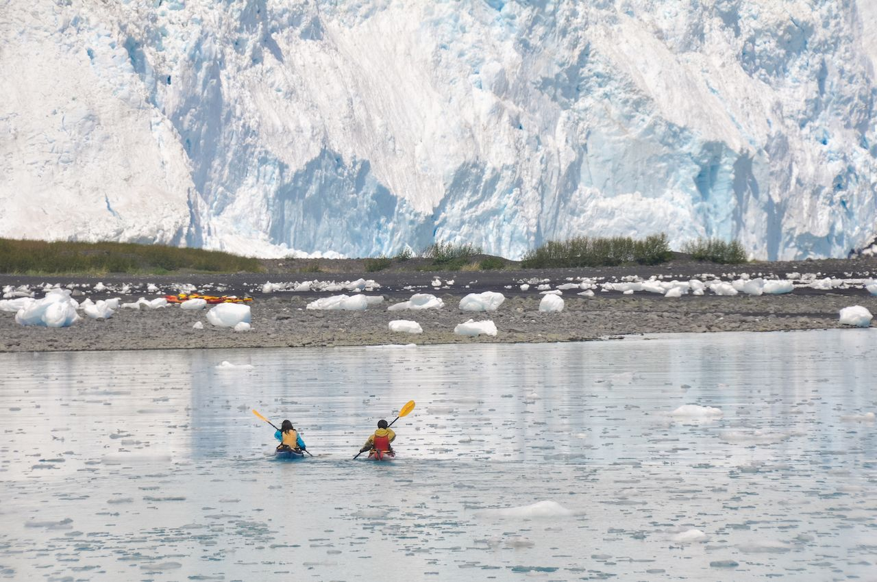 Kayakers in Kenai Fjords National Park in Alaska