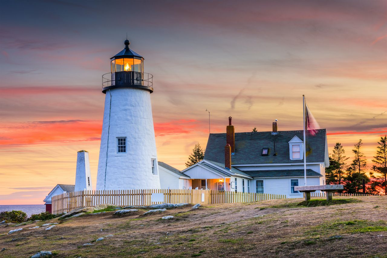 Pemaquid Point Light in Bristol, Maine. lighthouses in New England to stay the night